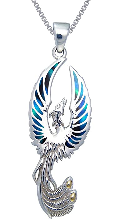 Amazon jewelry trends sterling silver flying phoenix fire bird jewelry trends sterling silver flying phoenix fire bird pendant with paua shell wings on chain necklace mozeypictures Gallery