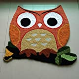 Wolala Home Super Soft Cute New Irregular Golden Owl Carpet Mats Durable Solid Floor Area Rug Children Bedroom Rug Livingroom Chair Mats Non-slip Door Mats(2'3×2'1)