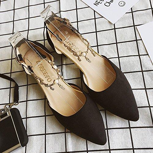 tacones zapatos Black áspero hebilla RUGAI altos UE Los de verano mujeres punta ETC1q