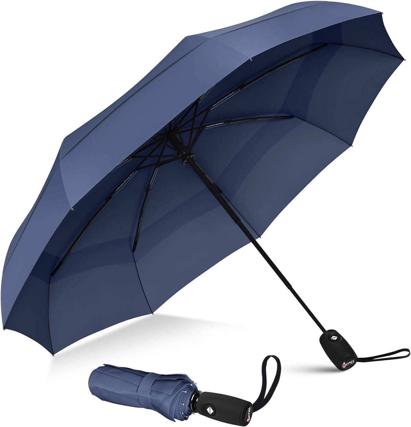 r/ésistant au Vent l/éger et Portable Triple Pliage imprim/é Floral des Deux c/ôt/és Bleu Bleu L Protection UV Parapluie de Voyage Anti-UV pour Femmes et Filles