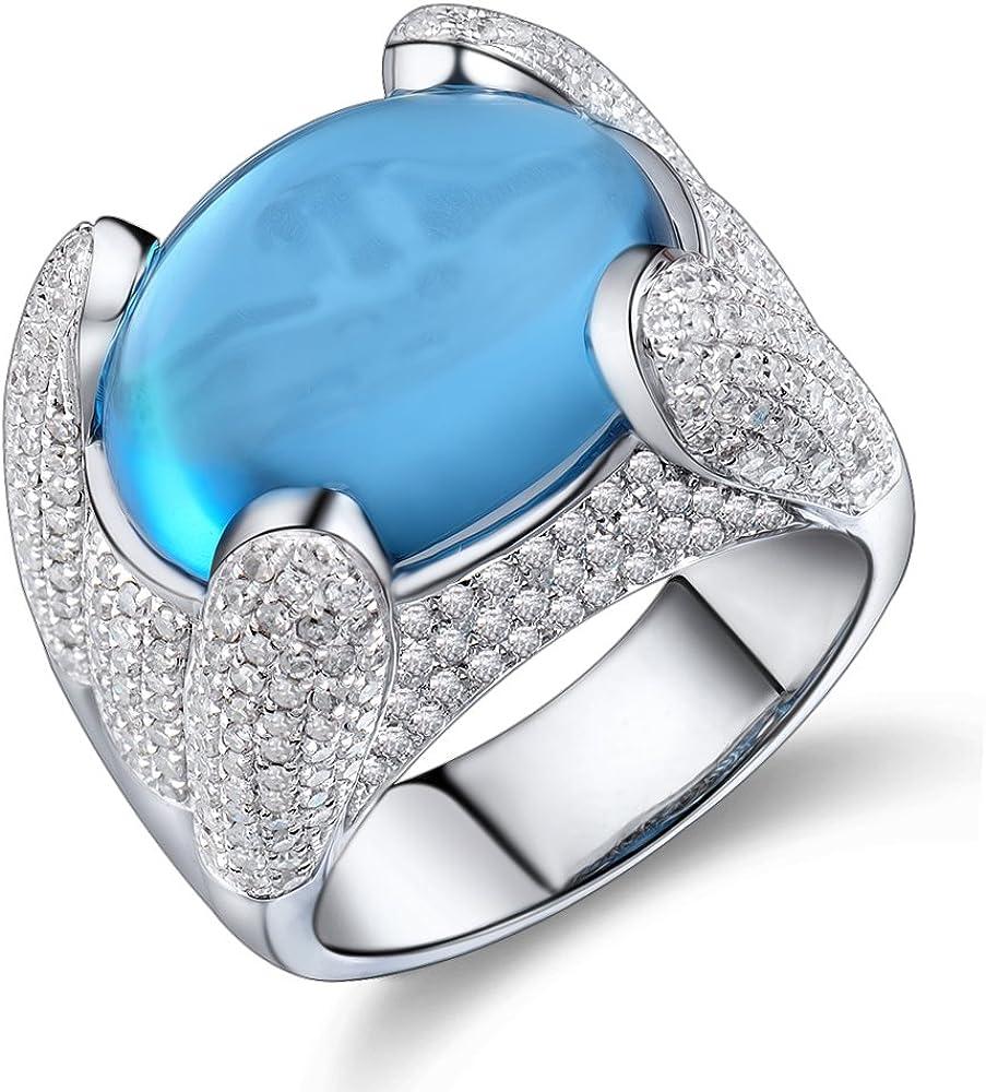 Lanmi 14K White Gold Natural London Swiss Blue Topaz Diamonds Ring Engagement Band for Women