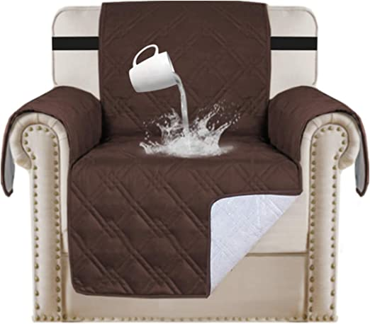 """Amazon.com: 100% Waterproof Chair Covers For Dogs Non Slip Chair Protector For Living Room Furniture Protector Pet Friendly Quilted Couch Protector Waterproof Furniture Chair Slipcover (Chair 21"""", Brown): Kitchen & Dining"""
