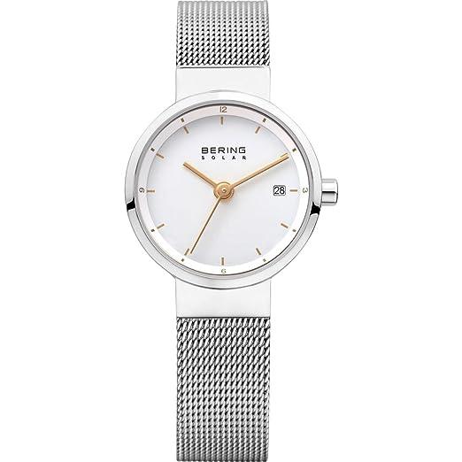 BERING Reloj Analógico para Mujer de Energía Solar con Correa en Acero Inoxidable 14424-001: Amazon.es: Relojes