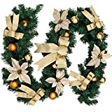 GZQ Christmas Garland Artificial Wreath for Halloween Xmas Wedding Party Home Stairs Fireplace Garden Wall Door Decors 9ft/270cm (Without Light, Gold)