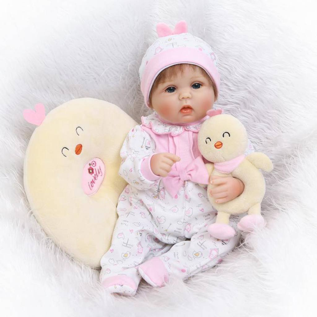 Seedollia Reborn Baby Doll Girl Silicone Blue Open Eyes Real Looking New Born 18 inch Pink Outfit