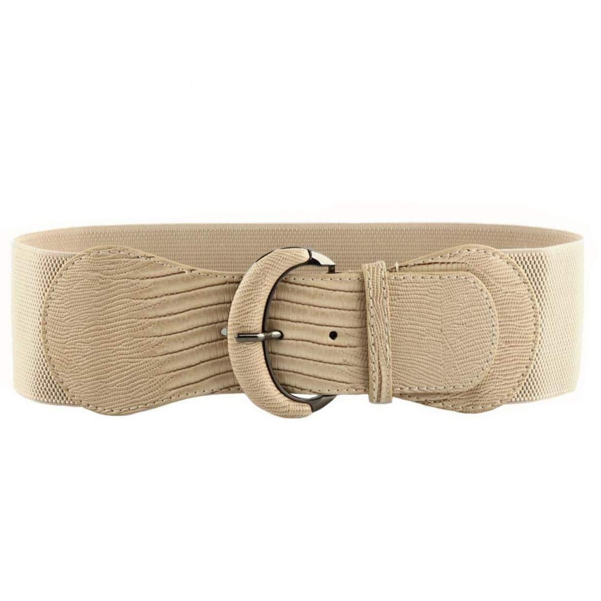 TALLA L(33.1''-40.6''). WODISON Mujer Vintage Cinturón Plus Ancho Elástico de Estiramiento