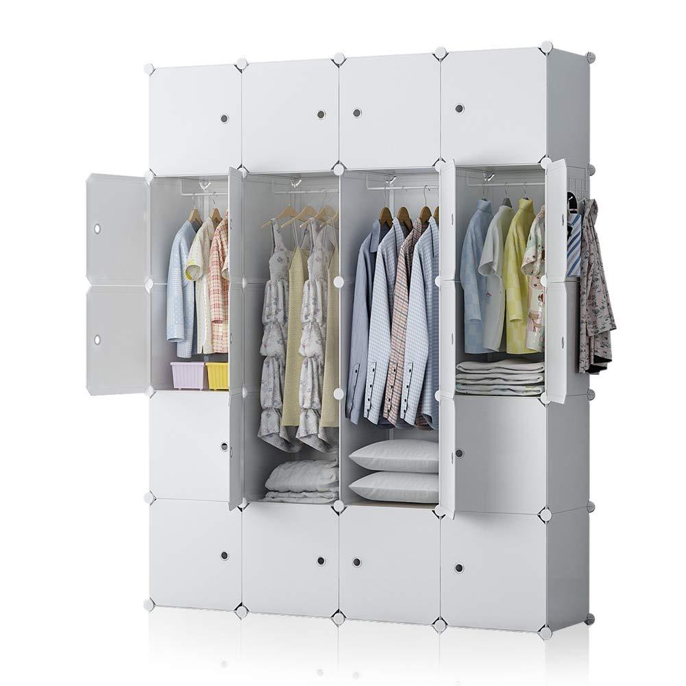 YOZO Modular Wardrobe Plastic Portable Closet Organization Customizable Cube Storage Organizer Bedroom Armoire Dresser, 20 Cubes, Depth 18 inches, White