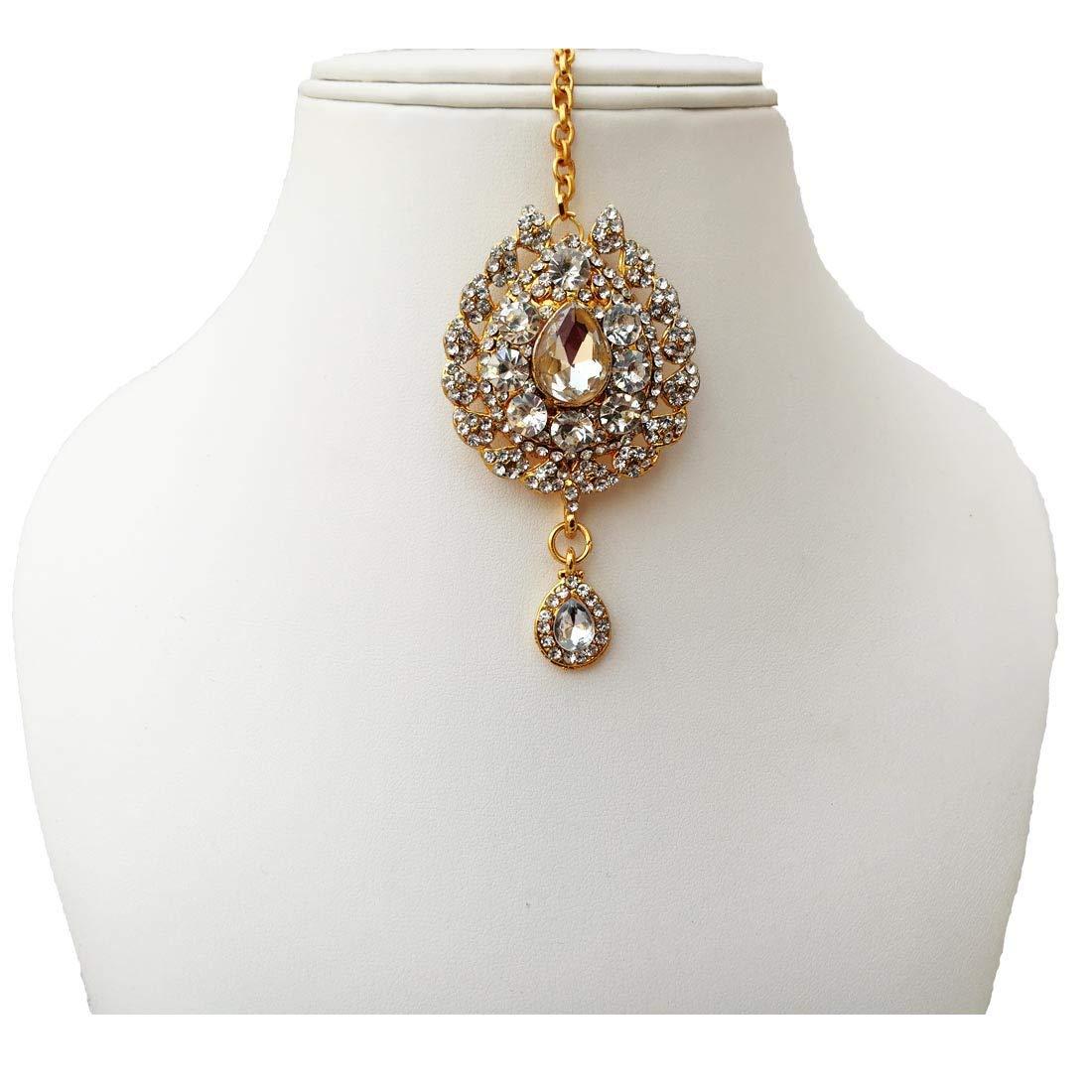 Fkraft Cubic Zirconia Latest Wedding Maang Tikka Jewelry Set Women Self Handmade FTS-WHT021G