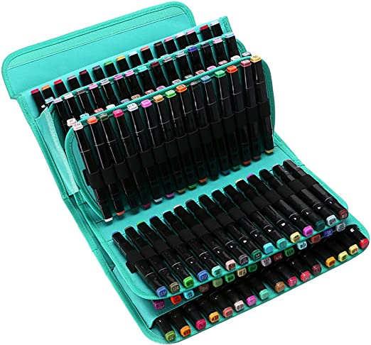 BTSKY Maletín de Almacenamiento de Rotuladores Caja de Organizador para Lápices Marcadores de Color Gran Capacidad con 120 Ranuras Multi-Capas Color Verde(No Incluye Los Rotuladores): Amazon.es: Hogar