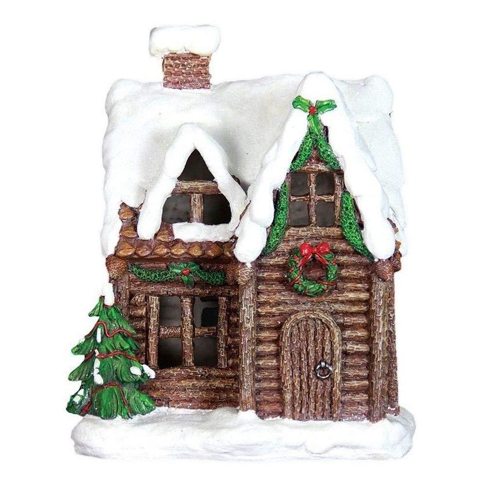 Miniature Dollhouse FAIRY GARDEN - Winter LED Cabin - Accessories