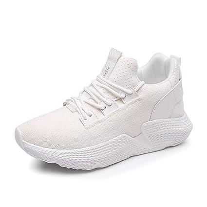 SHI Zapatillas Deportivas Blancas de Verano para Mujer con Cordones Respirables (Color : Blanco,