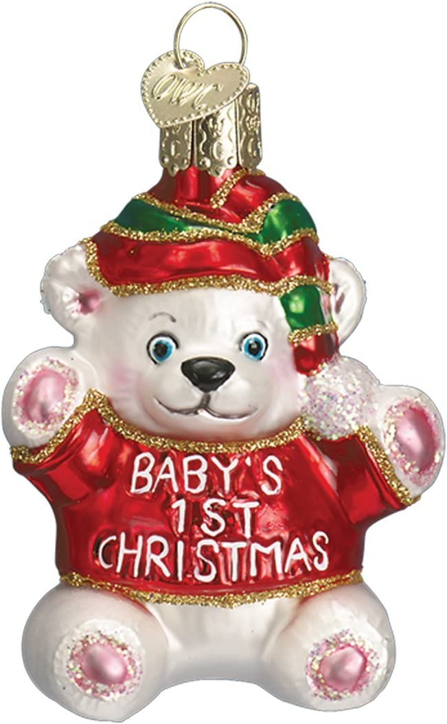 Old World Christmas Collection Glass Blown Ornaments for Christmas Tree Baby's 1St