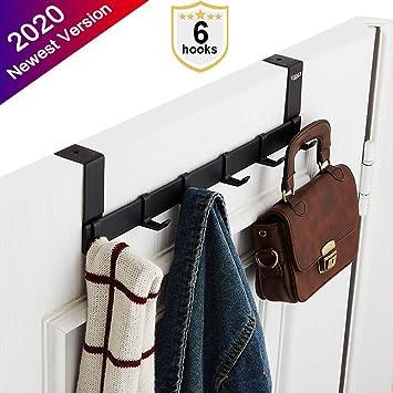 Towel 5 Hooks Black Robe Heavy-duty Organizer for Coat Brush Finish Over The Door Hanger Hook by ACMETOP Aluminum Bag