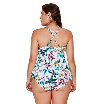 DD Frauen Bikini Sets Sexy Monokini Einteilige Große Größe Badeanzug  Tropischen Blumendruck Schößchen Badeanzug (M-3XL) (Farbe   Weiß, größe    XXL)  ... bffff862e2