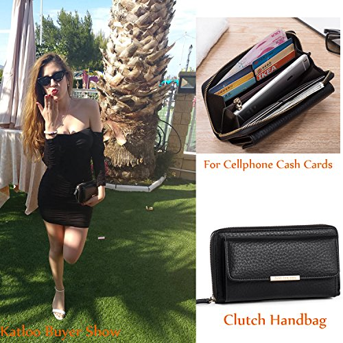 Organiser Black Cell Mini Clipper Leather Phone Handbags Weekends Holidays Black Clutch Wallet Bag Small Crossbody Travel for Nice Money Katloo Ladies Women Nail Shopping gISwS