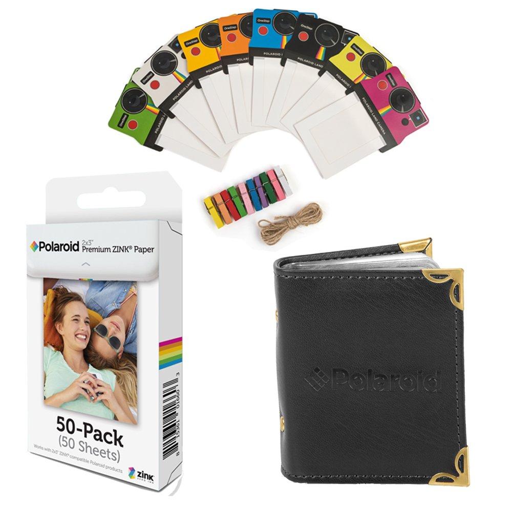 Polaroid 2x3 pulgadas papel fotográ fico ZINK premium (50 hojas) + Coloridos marcos de fotos vintage + Á lbum de fotos (compatible con Polaroid Snap, Touch, Zip, Z2300) AMZ-2X350K1