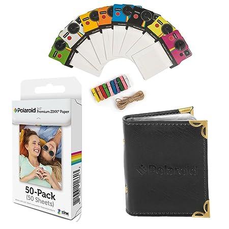 Polaroid 2x3 pulgadas papel fotográfico ZINK premium (50 hojas) + Coloridos marcos de fotos vintage + Álbum de fotos (compatible con Polaroid Snap, Touch, ...