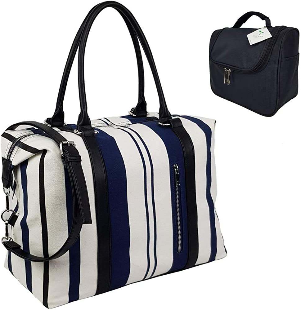 Ladies Women Canvas Travel Weekend Overnight Carry-on Shoulder Duffel Tote Bag and Cosmetic Bag