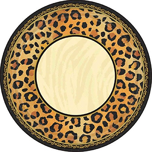 Amscan Disposable Square Dessert Plates in Safari Chic Style Print (8 Pack), 7 x 7, Black/Brown/Orange