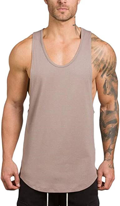 MENS GYM VEST PLAIN STRINGER BODYBUILDING MUSCLE TRAINING TOP FITNESS SINGLET