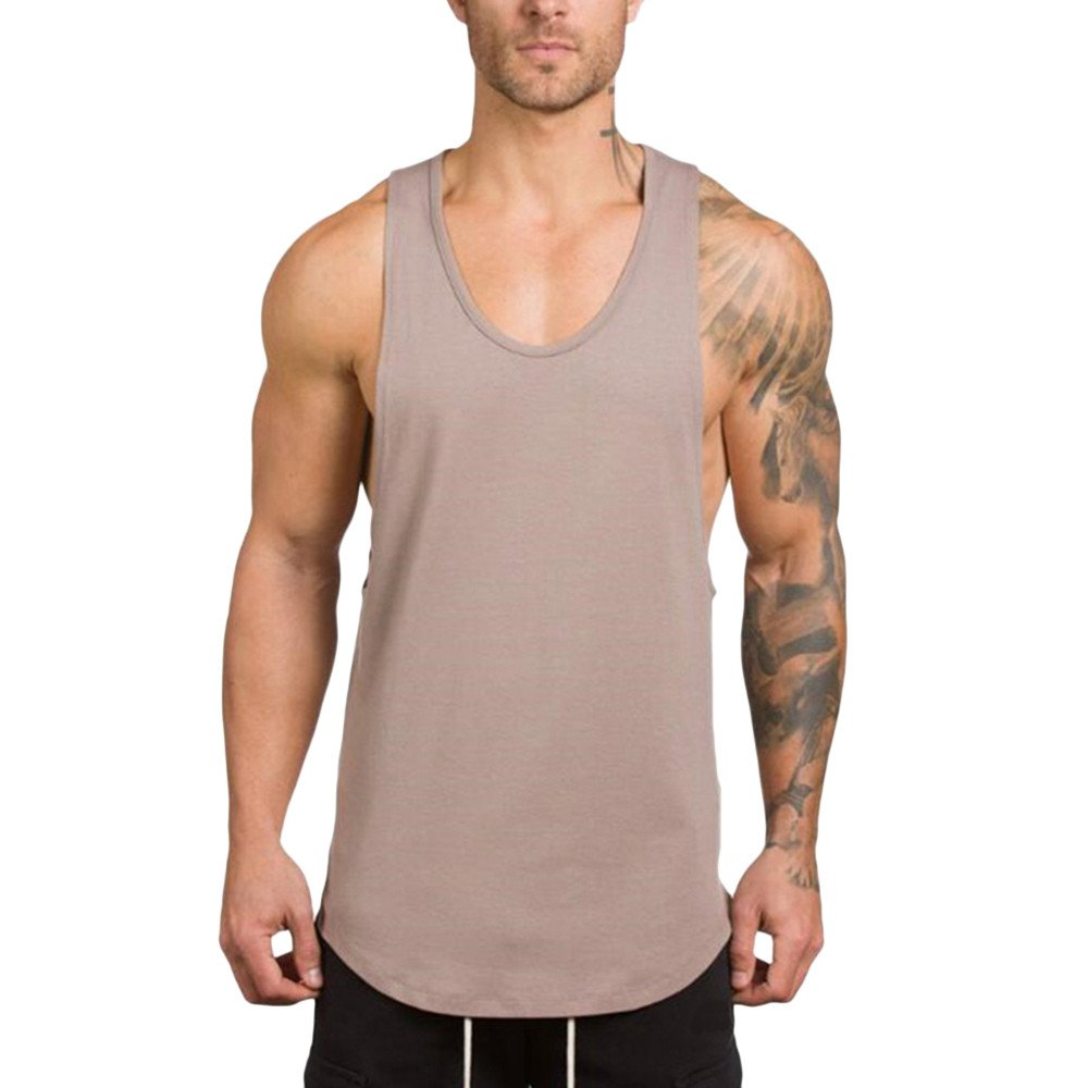 Pitauce Tank Tops for Men Sleeveless Tee Shirts for Men Men's Muscle Gym Workout Tank Tops Bodybuilding T-Shirts Beige