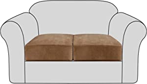 Velvet Stretch Couch Cushion Cover Plush Cushion Slipcover for Chair Loveseat Sofa Cushion Furniture Protector Seat Cushion Sofa Cover with Elastic Bottom Washable (2 Packs, Camel)