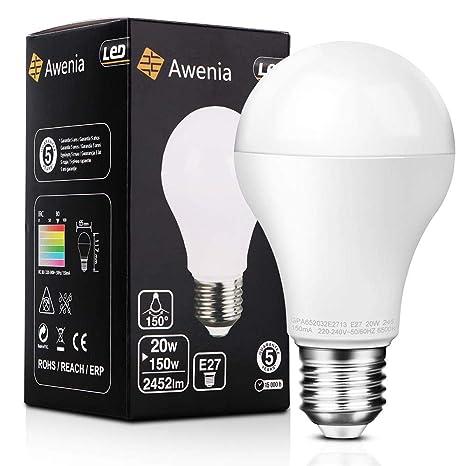 Awenia Bombilla LED Esférica E27 20W (Equivalente a 150W), Luz LED 6500K 2452 Lúmenes Blanco Frío,1 Pack