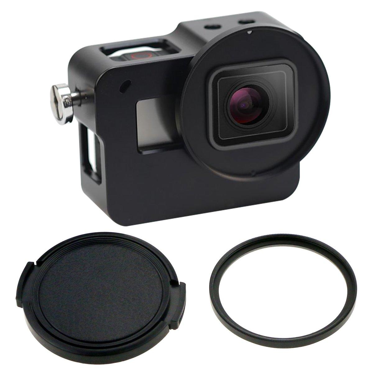 Fixget Housing Case for GoPro Hero 5/Hero 6, Aluminium Alloy Metal ShockProof Skeleton Housing Border Protective Frame Case Shell with 52mm UV Filter for Gopro Hero 5 Black Camera