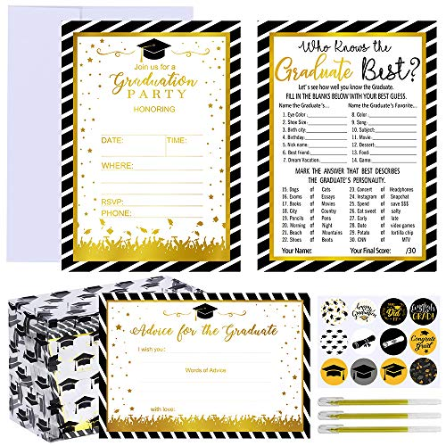 Supla 150 Sets Graduation Card kit Grad Invitation Cards Advice Cards Memory Cards Game Cards Blank Graduation Cards Note Cards with Card Box Envelopes Stickers for Nurse College Graduation Party