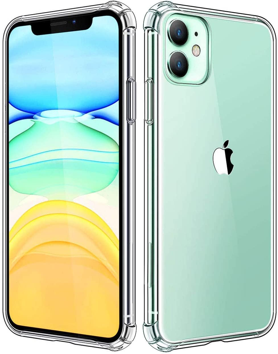 KUMEEK iPhone 11 Case, Clear Protective [Anti-Yellowing] Ultra Hybrid Flexible Slim Lightweight TPU Bumper Cases for 6.1 inch 2019 iPhone 11-Crystal Clear