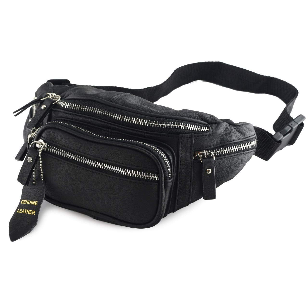 4379ba80cc65d Fanny Pack Multifunction, Genuine Leather Hip Bum Bag, Travel Pouch for Men  and Women- Multiple Pockets & Sturdy Zippers Ideal for Hiking Running and  ...
