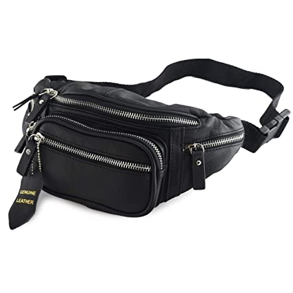 0ad64b7c4230 Nabob Leather Fanny Pack (Black or Brown) - Multifunction Hip Bag Travel  Pouch for