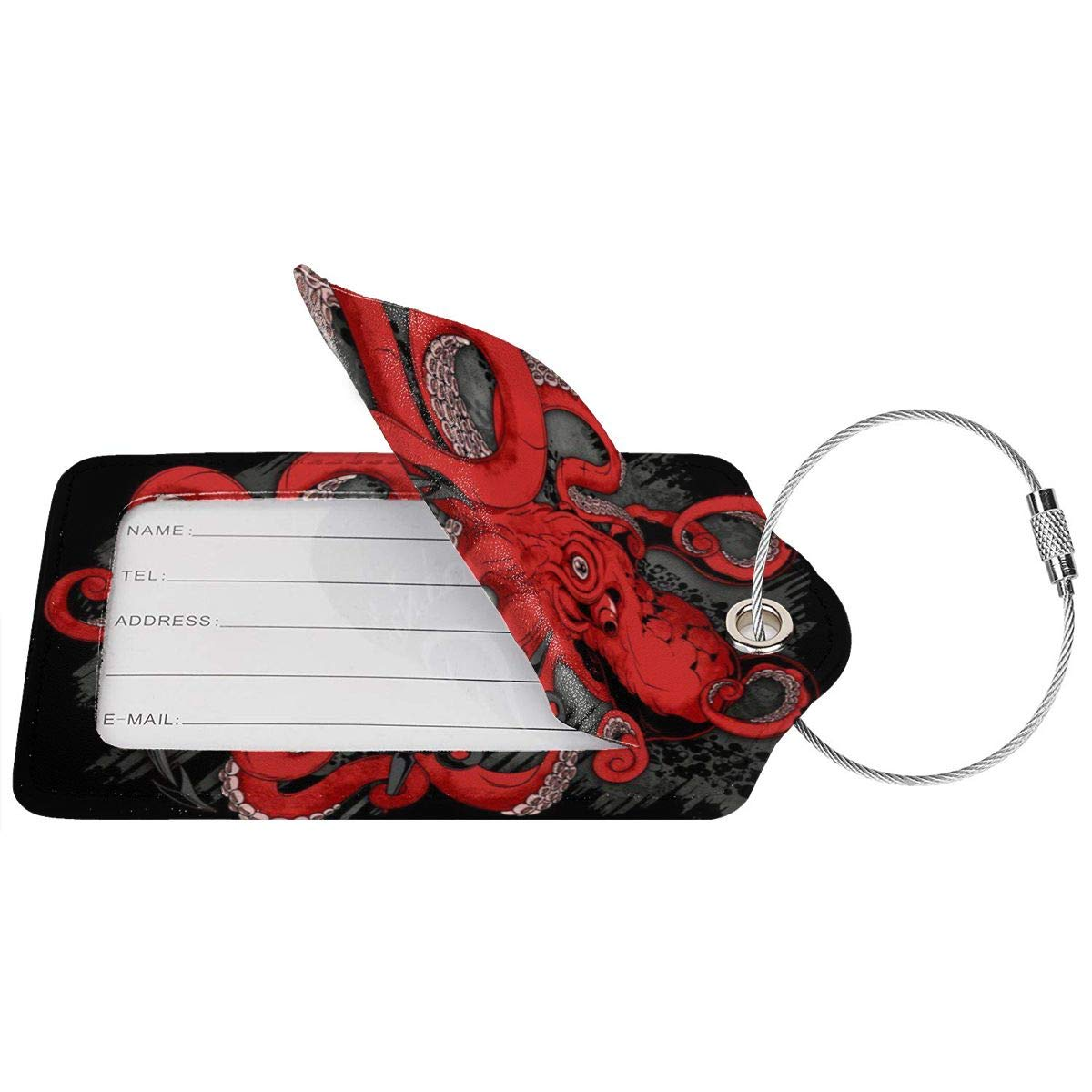 Octopus Leather Luggage Tags Suitcase Tag Travel Bag Labels With Privacy Cover For Men Women 2 Pack 4 Pack