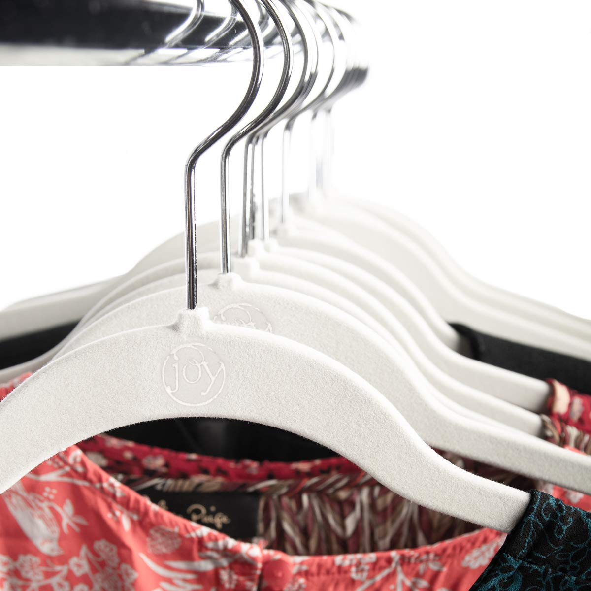 Joy Mangano 120 Pack White Huggable Hangers Non Slip Velvet Hangers Space Saving Clothes Hangers by Joy Mangano (Image #4)