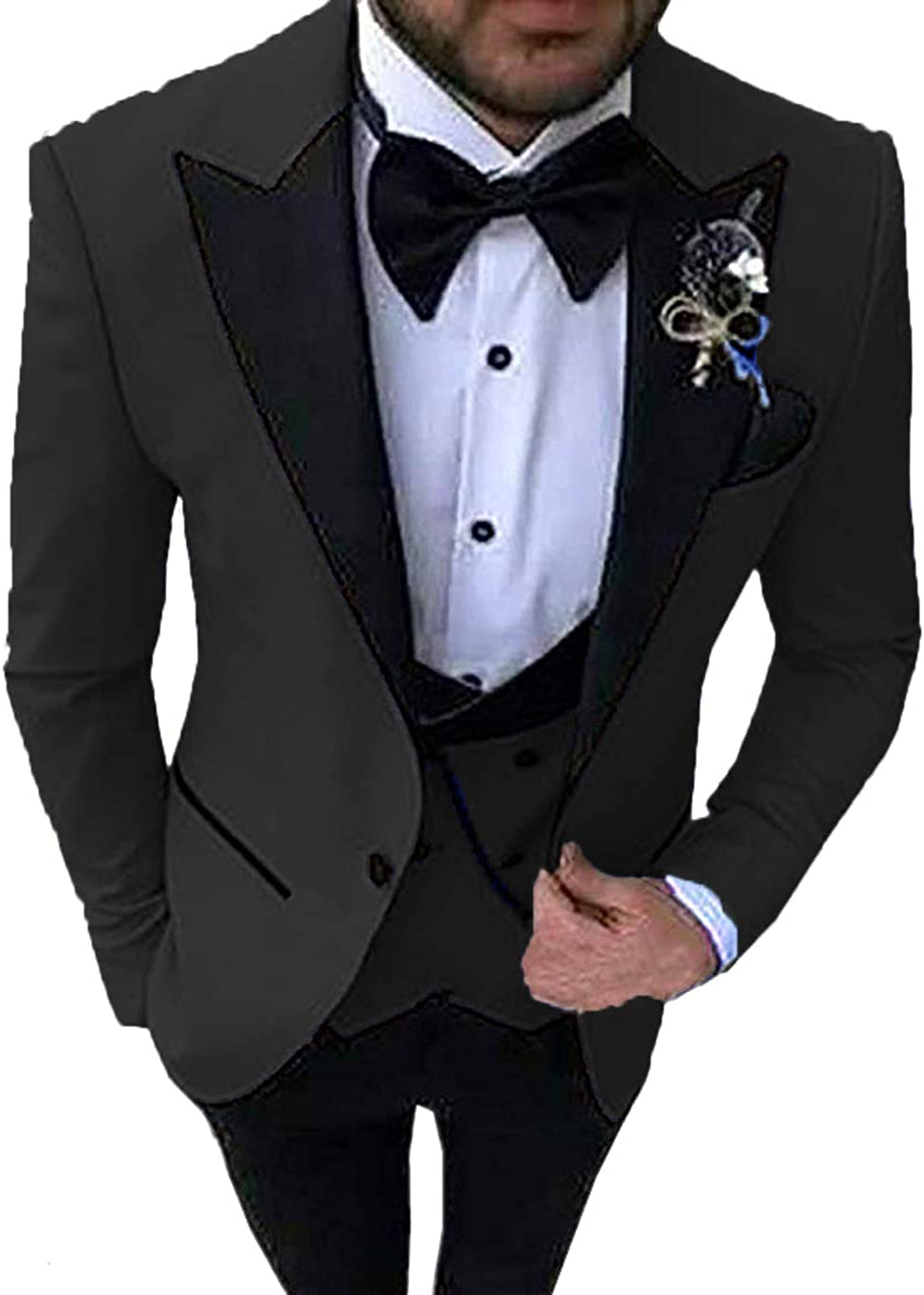 Anshirlisa Mens Formal Three-Piece Lapel Tuxedo Wedding Suits Prom Party Outerwear