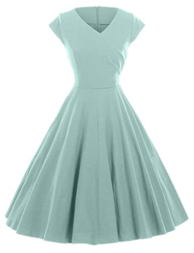 GownTown 1950s Vintage Dresses V-neck Cap-sleeves Swing Stretchy Dresses