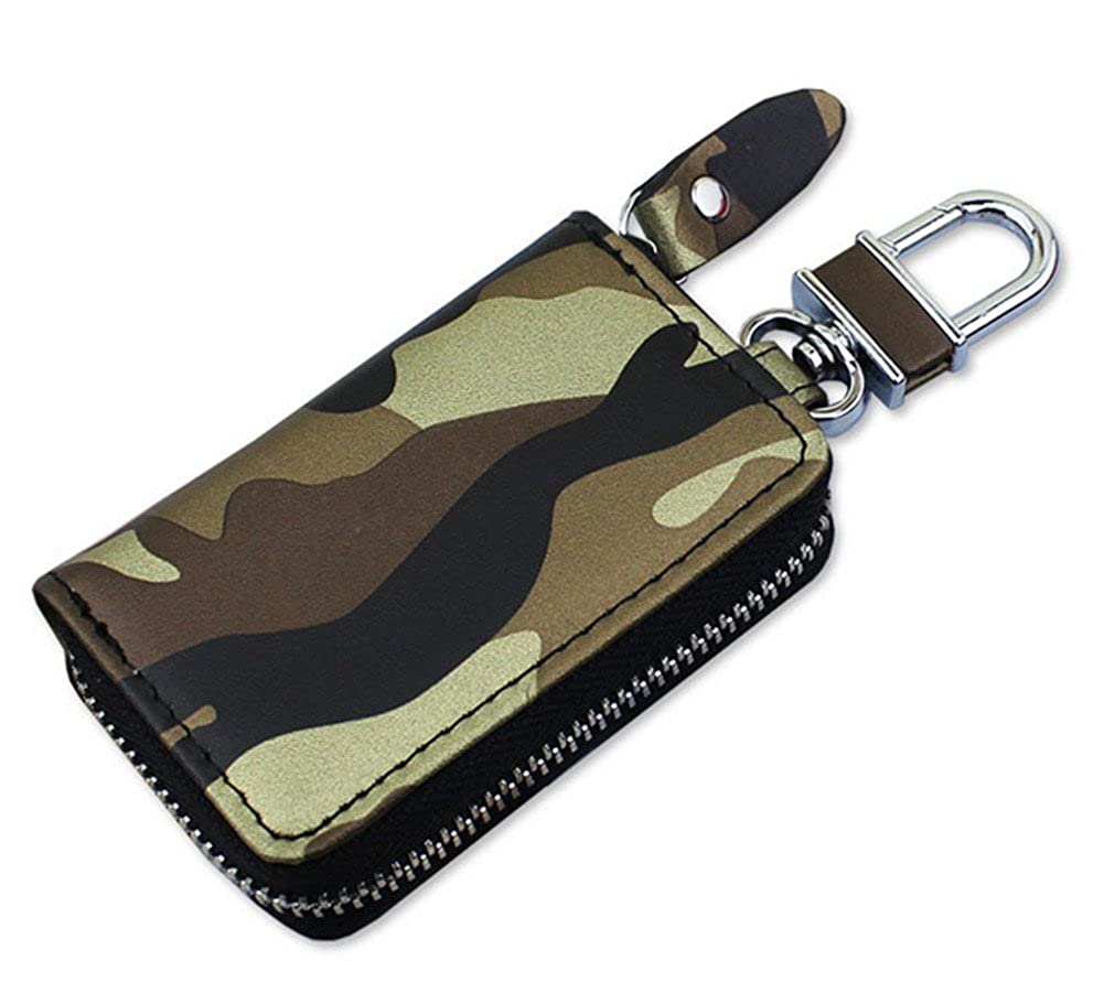 Amazon.com: Skyseen Leather Camouflage Car Key Chain Case ...