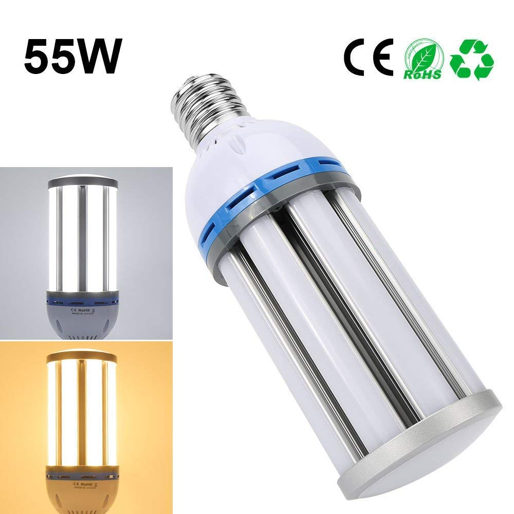 AC 85~265V 135pcs SMD5730 Chips 250-300 Watt Replacement Derlights 55W E27 Led Corn Light Bulbs 360 Degree Lighting Day White 6000K Perfect for Warehouse Outdoor and Street Lighting YM223-226