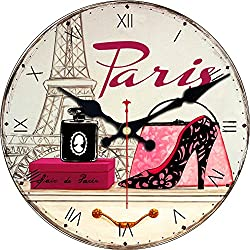ShuaXin 16 Vintage Arabic Numerals Design Rustic France Paris French Ladies Style Wooden Silent Decorative Round Wall Clock (T-08)