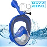 Avoalre Full Face Snorkel Mask Advanced Safety Breathing System Portable 180° Panoramic View Snorkeling Mask with Camera Moun