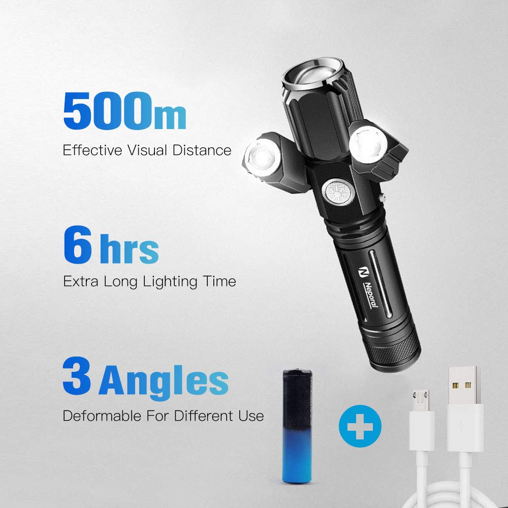 Zoomable 500m Rechargeable Flashlight Torch & Portable Solar Camping Light Kit, 5Modes Torch & 2Modes Led Light for Camping,Riding, Fishing,Hiking,Emergency