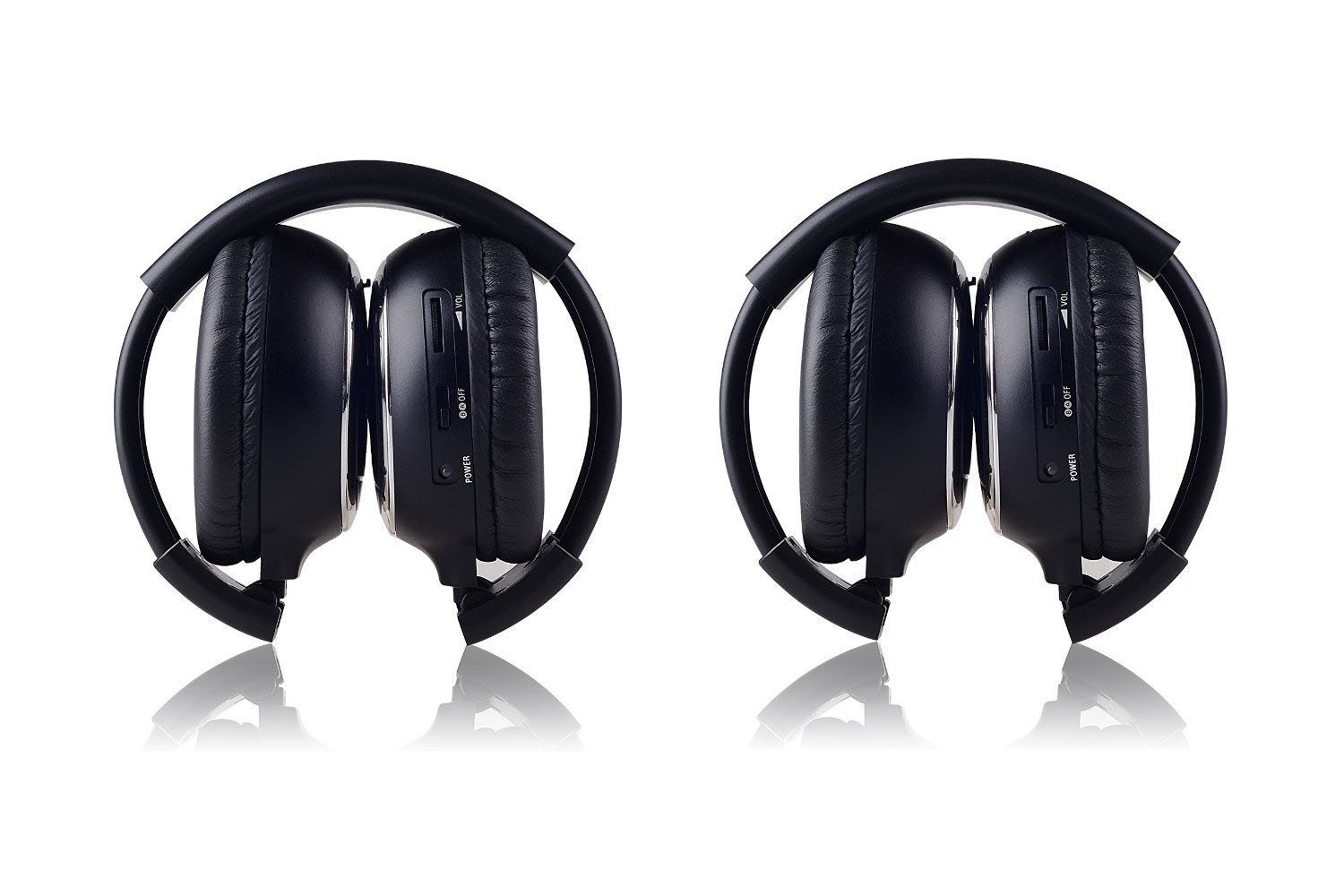 LeaningTech 2 Pack of IR Wireless Two-Channel Foldable Headphone, Two Channel Folding Adjustable Universal Rear Entertainment System Infrared Headphones for in Car TV Video Audio Listening by LEANINGTECH