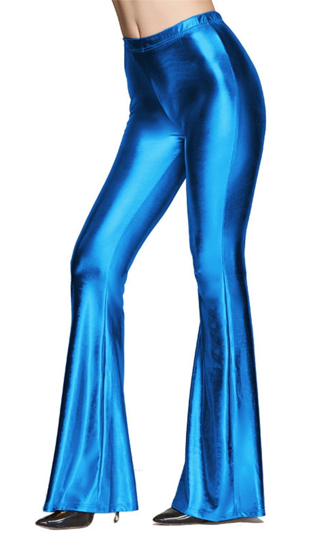 Tamskyt Womens Wide Leg Shiny Liquid Metallic Bell Botton Flared Palazzo Pants (One Size, Royal Blue)