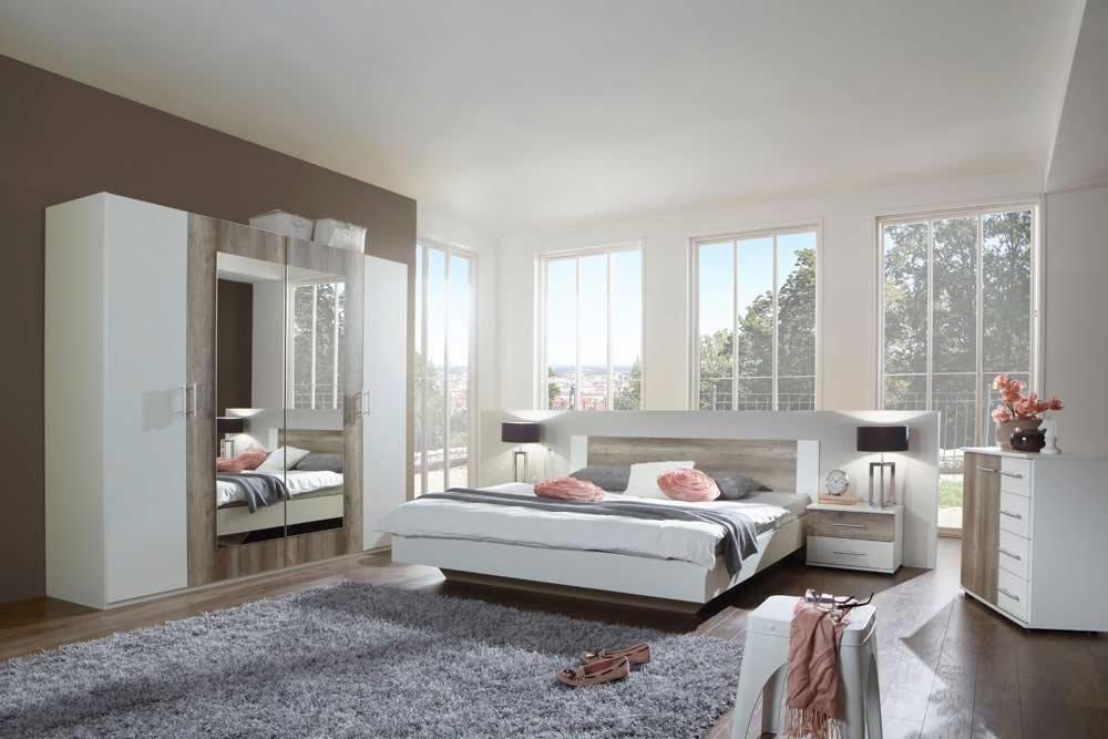 Schlafzimmer, Set, komplett, weiß mit Wildeiche-Nachbildung ...