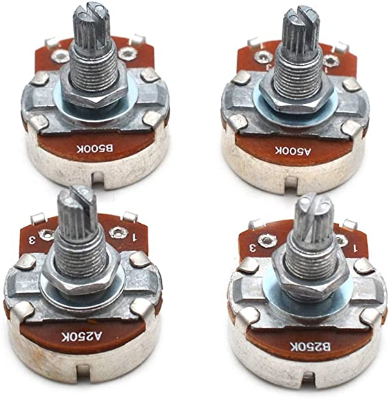 3x 18mm Shaft Guitar Volume Audio Taper Potentiometer für Gitarrenbass MN500K