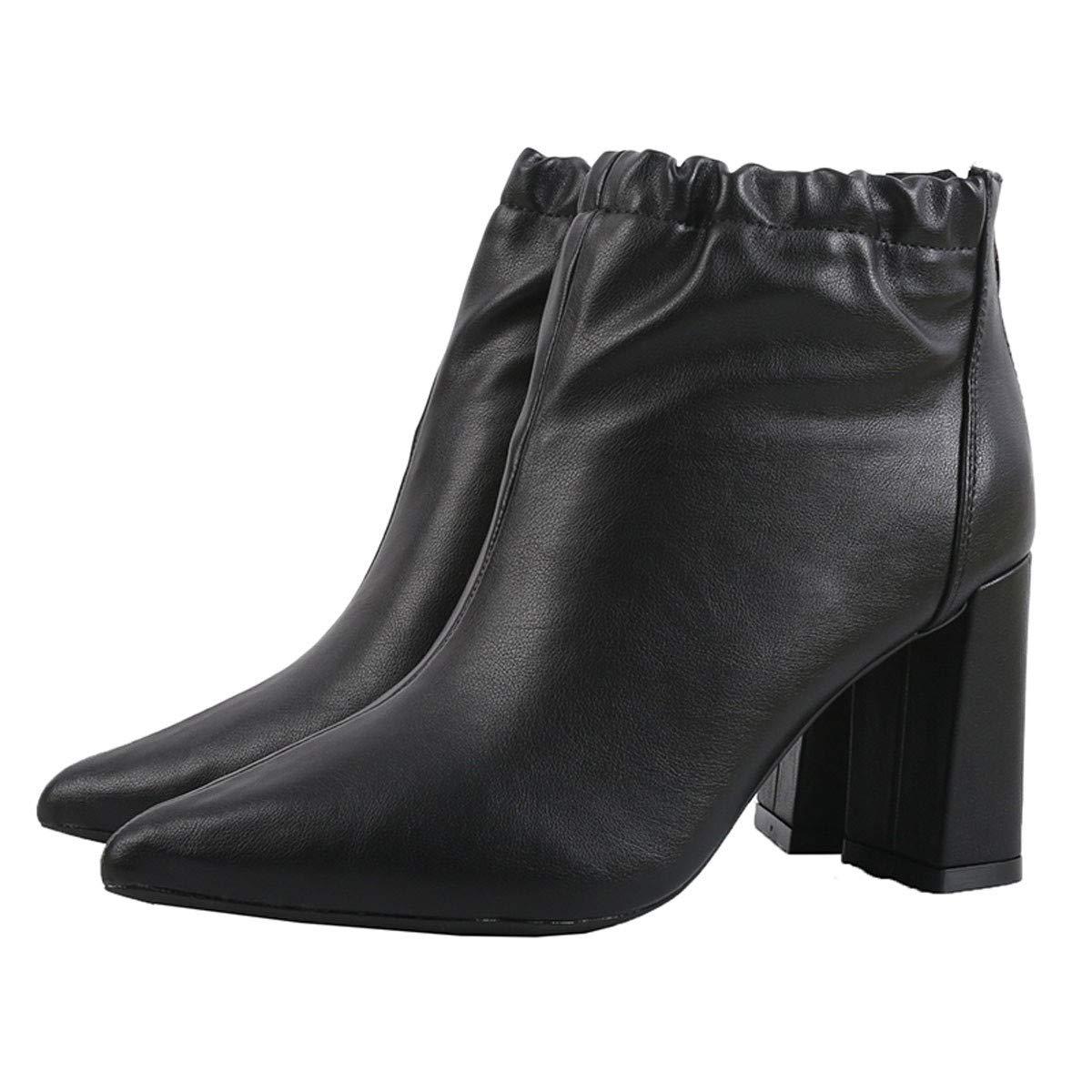 GTVERNH Frauen Schuhe/Mode Stiefel Grob Gesagt Reißverschluss Samt Kurze Stiefel Schuhe/Mode 8Cm High Heels Mode Schuhe Damenschuhe. 83f023
