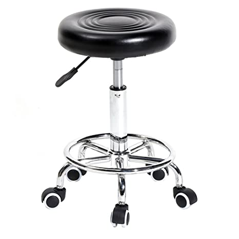 Amazing Tenozek Black Rolling Stool With Wheels Adjustable Swivel Stool Massage Salon Spa Stool Pu Leather Office Chair Dental Nursing Chair With Grain Gmtry Best Dining Table And Chair Ideas Images Gmtryco