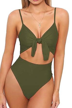 94f5a69b782a18 Natsuki Women s High Leg Cut High Waisted One Piece Swimsuit Monokini S  Army Green