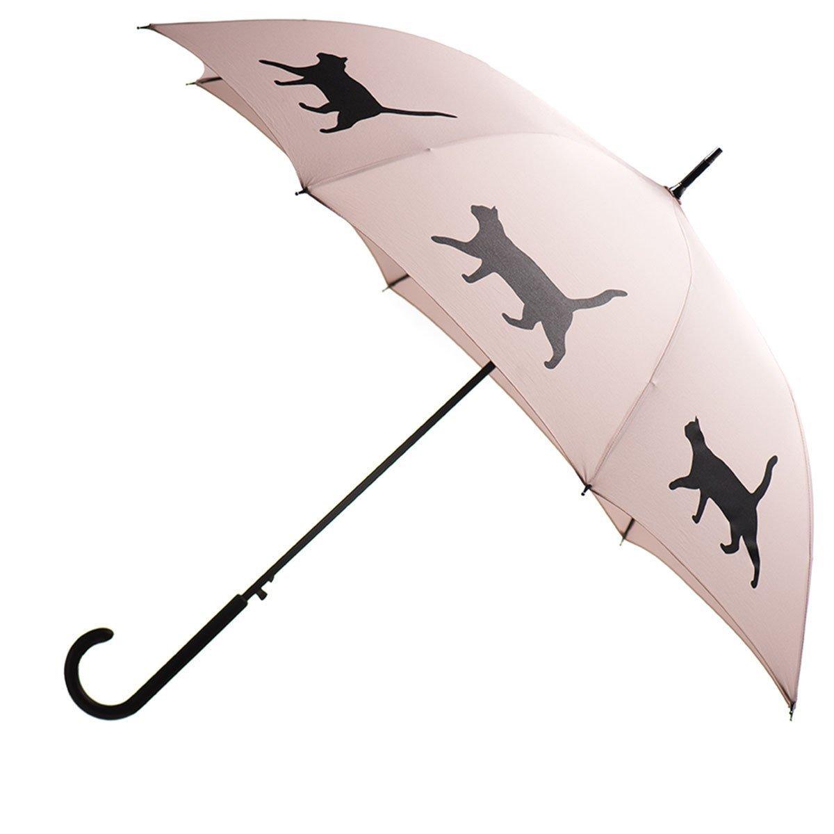 Cat Premium Rain Umbrella (Warm Taupe/Black) By San Francisco Umbrella Co.