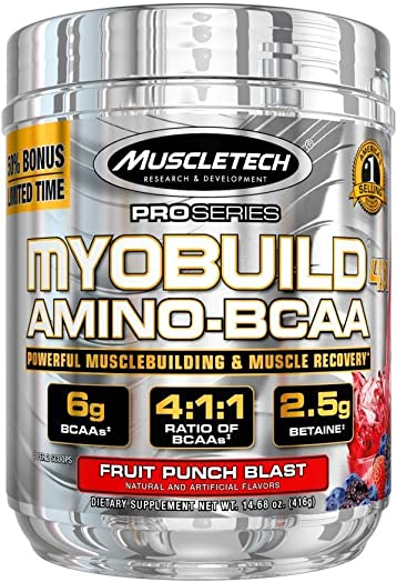 MuscleTech Myobuild BCAA Amino Acids Supplement, Muscle Building and Recovery Formula with Betaine Electrolytes, Fruit Punch Blast, 45 Servings 416g , 14.68 Ounce